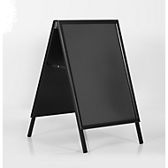 Stoepbord uit aluminium, weerbestendig, voor A1-formaat (594 x 841 mm), zwart