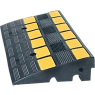 Stoeprand, tot 40 t, antislip, reflecterende strips, te gebruiken als kabelbrug, L 600 x B 360 x H 150 mm, hard rubber, zwart-geel