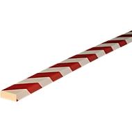 Stootrand type D, in stukken van 1 m, wit/rood