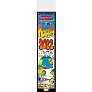 Streifenkalender Happy, B 120 x H 525 mm, Werbedruck 100 x 100 mm, Auswahl Werbeanbringung erforderlich