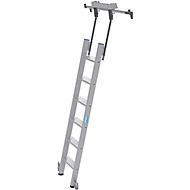 Stufen-Regalleiter, aluminium, fahrbar, 6 Stufen