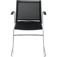 Stuhl Ariz 575 V2P, gepolstert/Netz schwarz, m. Armlehnen, schwarz