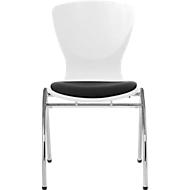 Stuhl Bingo, mit Sitzkissen, ohne Armlehnen, weiß/schwarz