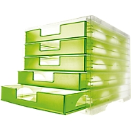styro® ladebox styro-light, 5 schuifladen, C4, kiwi-transparant