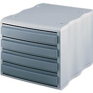 styro® ladebox wave, 4 schuifladen, polystyreen, grijs/grijs