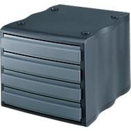 styro® ladebox wave, 4 schuifladen, polystyreen, zwart/grijs
