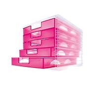 styro® Schubladenbox styro-Light, 5 Schübe, DIN C4, himbeer-transparent