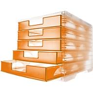 styro® Schubladenbox styro-Light, 5 Schübe, DIN C4, mandarin-transparent