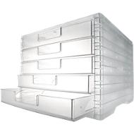 styro® Schubladenbox styro-Light, 5 Schübe, DIN C4, transparent-transparent
