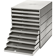 styro® Schubladenbox Styroval, 10 Schübe offen, DIN C4, Polystyrol, grau