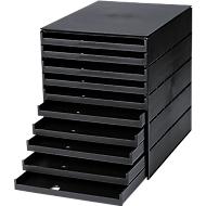 styro® Schubladenbox Styroval, 10 Schübe offen, DIN C4, Polystyrol, schwarz