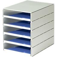 styro® Schubladenbox Styroval, 5 Schübe offen, DIN C4, Polystyrol, blau