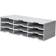 styro® Sortierstation styrodoc Standard, DIN C4, 3 Etagen/3-reihig/9 Fächer, grau/grau
