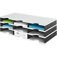 styro® Sortierstation styrodoc Standard, DIN C4, 3 Etagen/3-reihig/9 Fächer, grau/schwarz