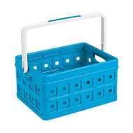 Sunware vouwkrat Square, L 435 x B 310 x H 213mm, i24 liter, met handgreep, blauw/wit
