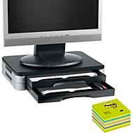 Support d'écran/imprimante + cube Post-it, 76 x 76 mm, GRATUIT