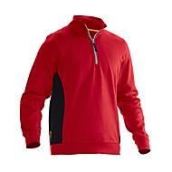 Sweatshirt 1/2 Zip Jobman 5401 PRACTICAL, met UV-bescherming, rood I zwart, XL