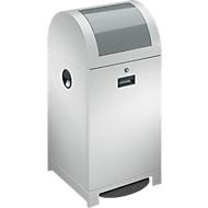System-Wertstoffsammler, fußbetätigte Einwurfklappe, Müllsackhalter, staubgrau, 40 L