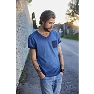 T-Shirt Herren MEN'S SLUB-T, 100% Bio-Baumwolle, Vintage-Look, V-Ausschnitt, denim, Gr. XL