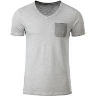 T-Shirt Herren MEN'S SLUB-T, 100% Bio-Baumwolle, Vintage-Look, V-Ausschnitt, light-grey, Gr. L