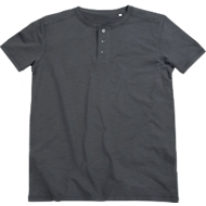T-Shirt SHAWN Henley, für Herren, 100 % Ringspinn-Baumwolle, mit Knopfleiste, grau, Gr. XL