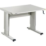 Table de travail série WB, avec manivelle, réglable en hauteur, 1073 mm