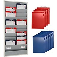Tableau de planning 10 compartiments + 10 pochettes bleues et 10 pochettes rouges