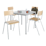 Tafel 800 x 800 + 4 stapelstoelen grijs