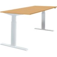 Tafel, eentraps elektrisch in hoogte verstelbaar, B 1600 mm, beukenpatroon/aluminium zilver