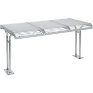 Tafel Essen, met flens, voor zitbank Essen voor 3 personen, gecoat, blank aluminium