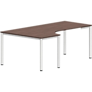 Tafel in vrije vorm NEVADA, B 1800 x D 1200/800 x H 740 mm, rond, lariksgrijs/wit