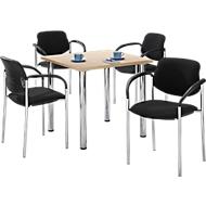 Tafel met 4 stoelen, esdoornpatroon, 800 x 800 mm