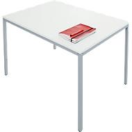 Tafel met stalen buizen, 1200 x 800 mm, lichtgrijs/blank aluminium