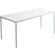 Tafel met stalen buizen, 1400 x 700 mm, lichtgrijs/wit