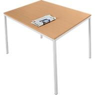 Tafel met stalen buizen, 1400 x 800 mm, beukenpatroon/blank aluminium