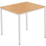 Tafel met stalen buizen, 800 x 700 mm, beukenpatroon/blank aluminium