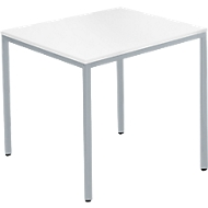 Tafel met stalen buizen, 800 x 700 mm, wit/blank aluminium