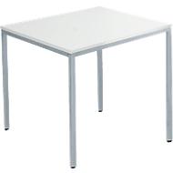 Tafel met stalen buizen, 800 x 800 mm, lichtgrijs/blank aluminium