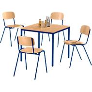 Tafel met stalen buizen met 4 stapelstoelen, onderstel blauw