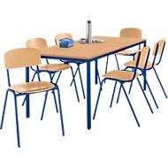 Tafel met stalen buizen met 6 stapelstoelen, onderstel tafel blauw/stoel blauw