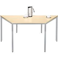 Tafel met stalen buizen PROPLANA, trapezium, B 1600/800 x D 690 mm, esdoornpatroon/blank aluminium