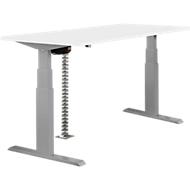 Tafel, tweetraps elektrisch in hoogte verstelbaar, B 1600 mm, wit/aluminum zilver
