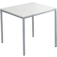 Tafel van stalen buis, rechthoekig, voet van vierkante buis, B 800 x D 700 zero x H 720 mm, alu lichtgrijs/wit