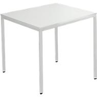 Tafel van stalen buis, vierkant, voet van vierkante buis, B 800 x D 800 x H 720 mm, lichtgrijs/lichtgrijs