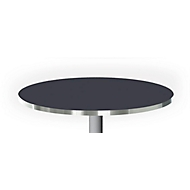 Tafelblad met aluminium rand, Ø 800 mm, zwart