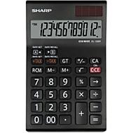 Tafelrekenmachine Sharp SH-EL126RWH, 12-cijferige LCD-weergave 1 regel, met valuta-omrekening, werkt op zonne-energie & batterijen