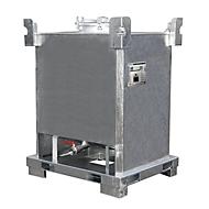 Tank-Container BAUER TCB 1000, Stahlblech, Bodenablauf, feuerverzinkt, B 1000 x T 1200 x H 1600 mm