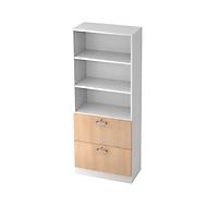 TARVIS combi-boekenkast, 5 OH, 2 legborden + 2 afsluitbare HM-laden, B 800 x D 420 x H 2004 mm, wit/eikendecor