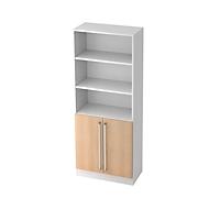 TARVIS combi-boekenkast, 5 OH, 3 open vakken + 2 deuren met greep, B 800 x D 420 x H 2004 mm, wit/eikendecor