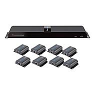 Techly HDMI 1x8 Extender Splitter over CAT6/6a/7 50m with IR pass-back - Sender + 8 Empfänger - Video-/Audio-/Infrarot-Übertrager - HDMI, infrarot